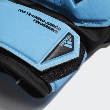 Kinder Fußball Predator Top Training Fingersave Torwarthandschuhe Blau