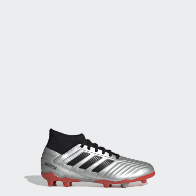 Children Football Silver Predator 19.3 Firm Ground Boots