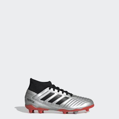 Zapatos de Fútbol Predator 19.3 Terreno Firme Plateado Niño Fútbol