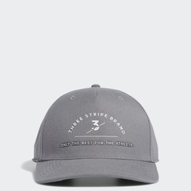 Men Golf Grey Three Stripe Brand Cap