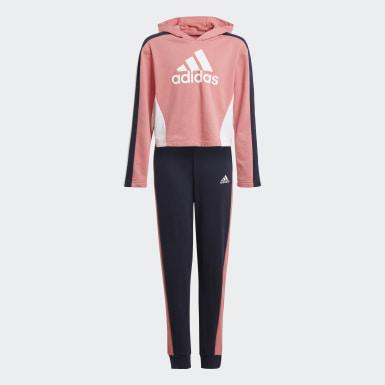 Meisjes Training roze Colorblock Crop Top Trainingspak