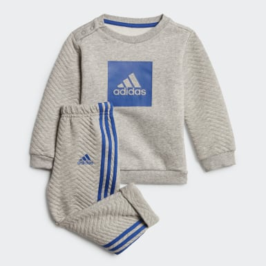Kids Training Grey Warm Crew Jogger Set