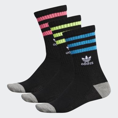 Men Originals Black Roller Crew Socks 3 Pairs
