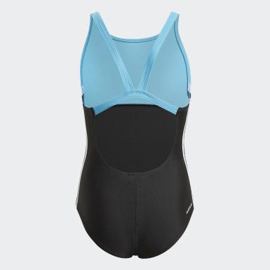 Meisjes Zwemmen Zwart Colorblock 3-Stripes Badpak