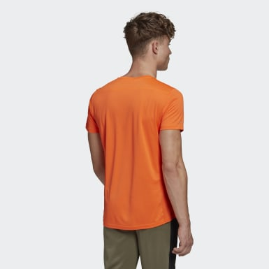 Men Running Orange Run It 3-Stripes PB Tee