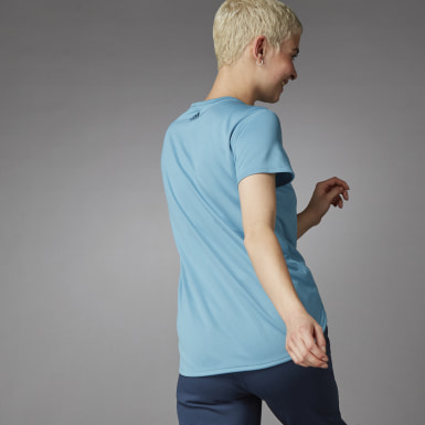Women Running Blue 3 Bar Logo T-Shirt