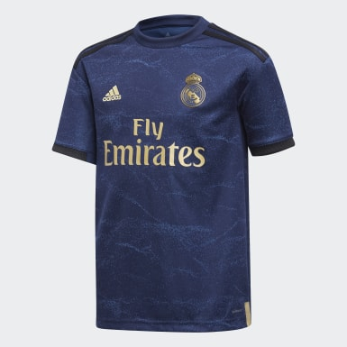 Boys Fodbold Blå Real Madrid udebanetrøje