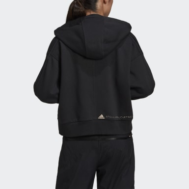 Dames adidas by Stella McCartney Zwart adidas by Stella McCartney Cropped Ritshoodie