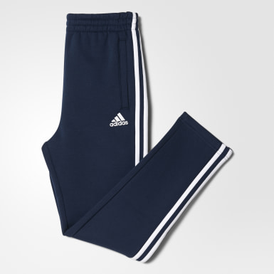 Pantalon Essentials 3-Stripes Fleece Bleu Enfants Athletics