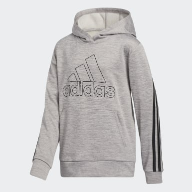 Children Training Grey 3-Stripes M��lange Fleece Hoodie