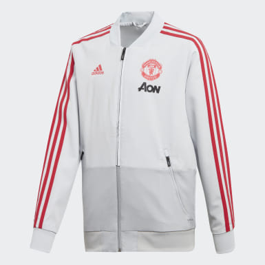 Kids Football Grey Manchester United Presentation Jacket