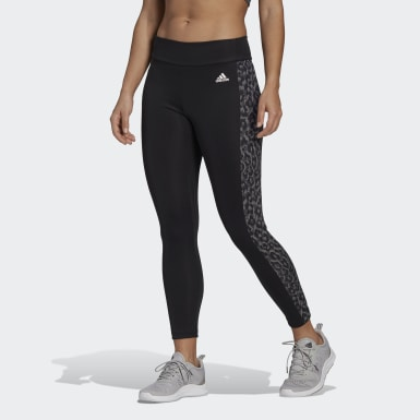 Dames Crosstraining zwart adidas Designed To Move AEROREADY Leopard Print 7/8 Legging