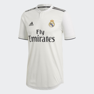 Men Football White Real Madrid Home Authentic Jersey