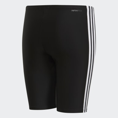 Boys Swimming Black 3-Stripes Swim Jammers