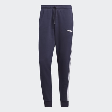 Muži Athletics modrá Tepláky Essentials 3-Stripes Tapered Cuffed
