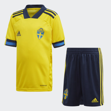 Kids 4-8 Years Football Yellow Sweden Home Mini Kit