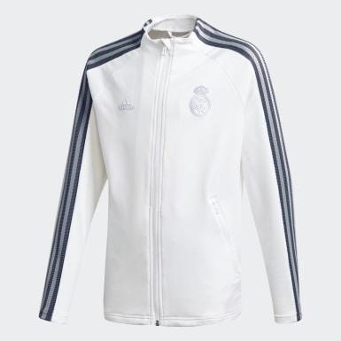 Kinder Fußball Real Madrid Anthem Jacke Weiß