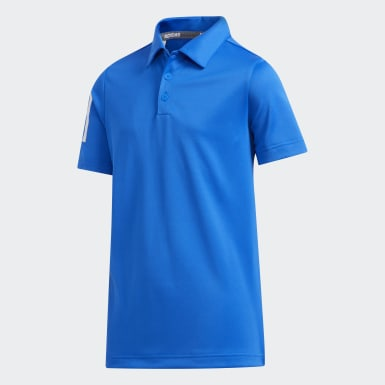 Boys Golf Blue 3-Stripes Polo Shirt