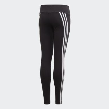 Youth 8-16 Years Training Black 3-Stripes Cotton Leggings