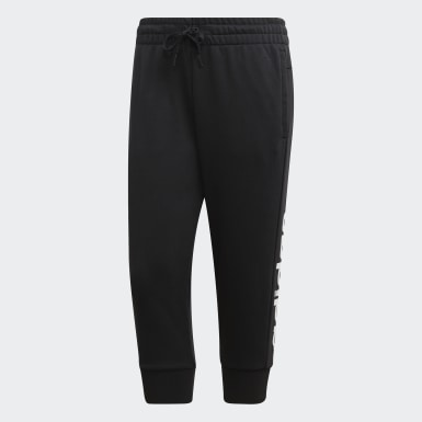 Women Athletics Black Essentials Linear 3/4 Joggers