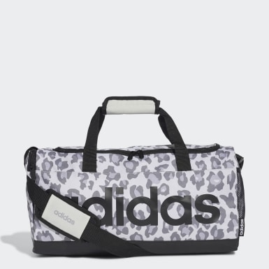Women Training Grey Linear Leopard Duffel Bag Small