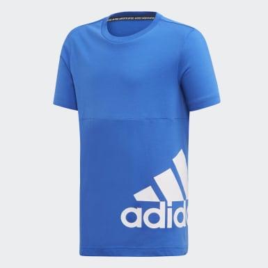 Chlapci Joga modrá Tričko Must Haves Badge of Sport