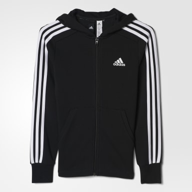 Barn Athletics Svart Essentials 3-Stripes Huvtröja