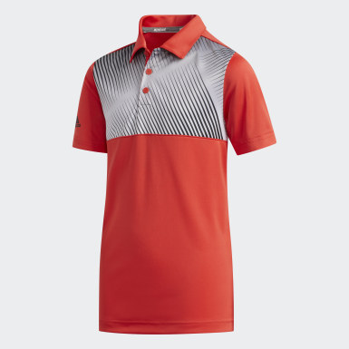 Boys Golf Red Gradient Stripe Polo Shirt