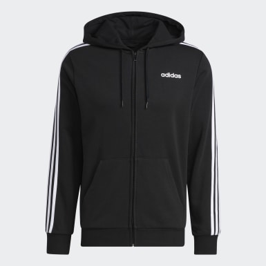 Herr Athletics Svart Essentials 3-Stripes Fleece Hoodie