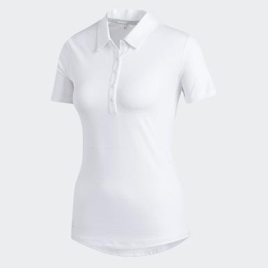 Women Golf White Microdot Polo Shirt