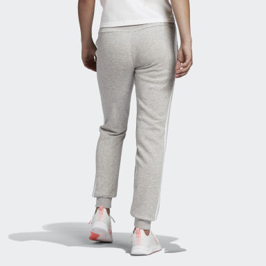 Women's Essentials Grey Essentials French Terry 3-Stripes Pants