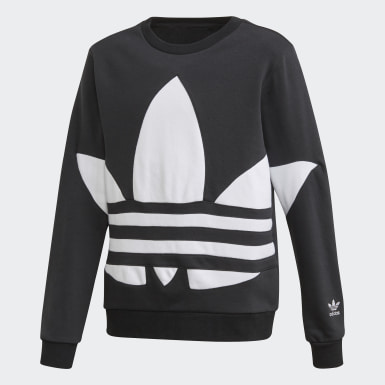 Børn Originals Sort Big Trefoil Crew sweatshirt