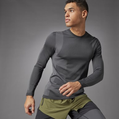 Men Studio Black Studio Techfit Seamless Long-Sleeve Top