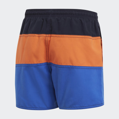Boys Swimming Blue Colorblock Swim Shorts