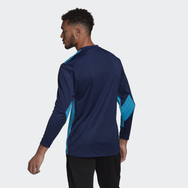 Men Football Blue Squadra 21 Goalkeeper Jersey