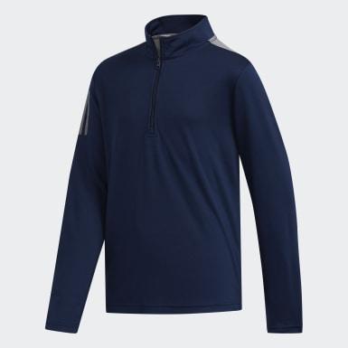 Jungen Golf 3-Streifen Half-Zip Pullover Blau