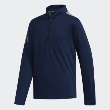 Boys Golf Blue 3-Stripes Half-Zip Pullover
