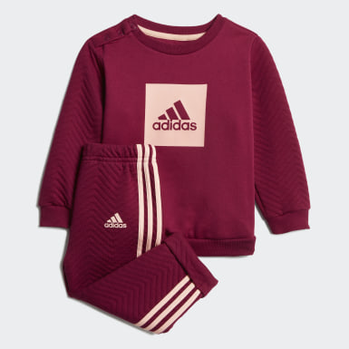 Girls Training Burgundy Warm Crew Jogger Set