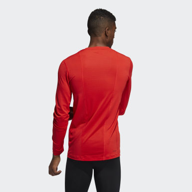Men Winter Sports Red Techfit Compression Long Sleeve Tee
