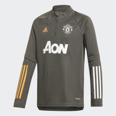 Haut d'entraînement Manchester United Vert Enfants Football