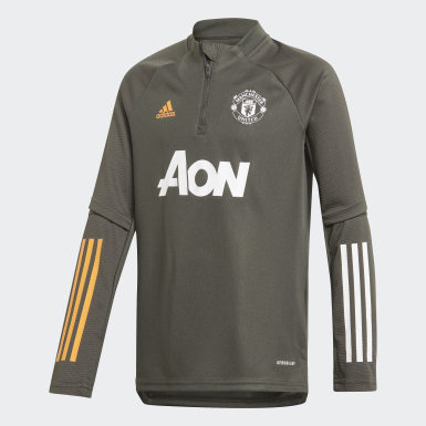 Sudadera entrenamiento Manchester United Verde Niño Fútbol