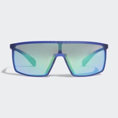 Óculos de Sol em Preto Brilhante Sport SP0004 Azul Tênis De Padel