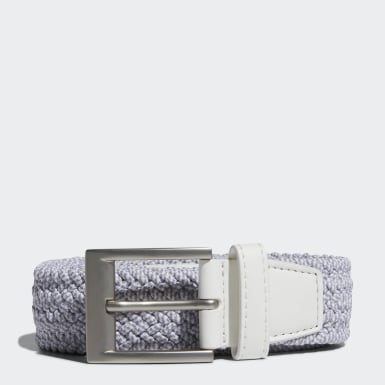 Men Golf White Braided Stretch Belt
