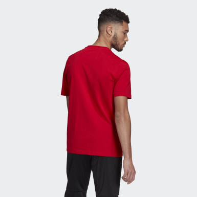 Men Athletics Red Essentials Embroidered Linear Logo T-Shirt