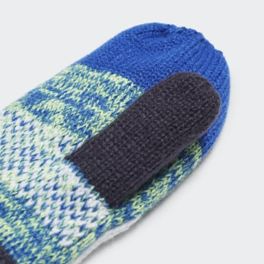 Kids 4-8 Years Winter Sports Blue Graphic Mittens