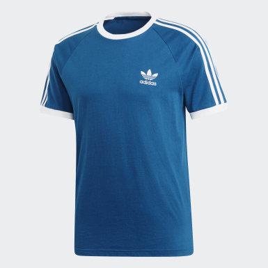 Men Originals Blue 3-Stripes Tee
