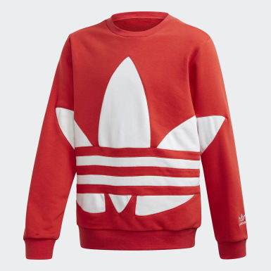 Kids Originals Red Big Trefoil Crew Sweatshirt