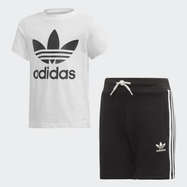 Kids Originals Black Trefoil Shorts Tee Set