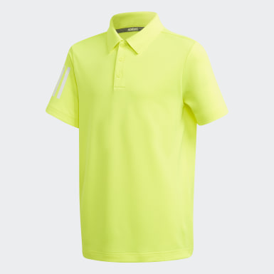 Youth Golf Yellow 3-Stripes Polo Shirt