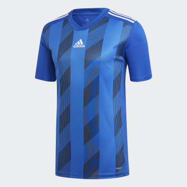Men's Soccer Blue Striped 19 Jersey